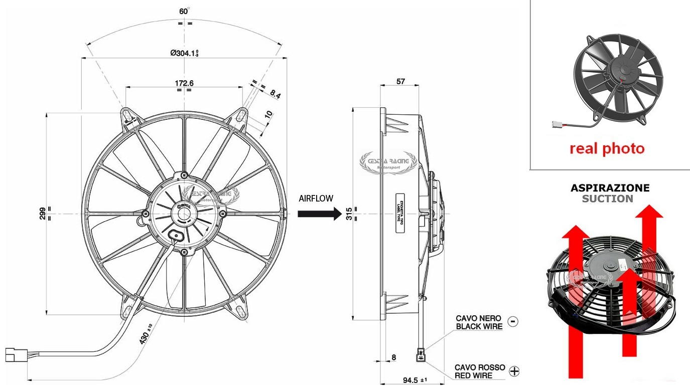 Spal Rallyshop Italy Sparco Omp Stilo Sabelt Competition Parts 196 Wiring Diagram Fans Suction Fan 12v A128 280mm 2330m3 H