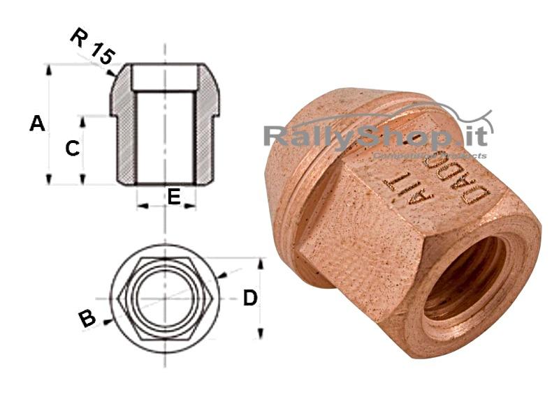 DADO CONICO APERTO M14x1,50 L=25mm Ch19