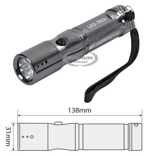 Led-Tech, torcia in alluminio 9 Led
